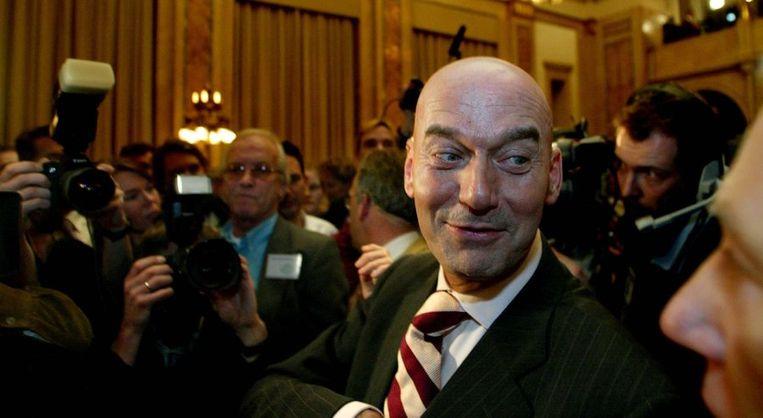Pim Fortuyn in het Rotterdamse stadhuis na winst bij de gemeenteraadsverkiezingen van 2002. Beeld ANP