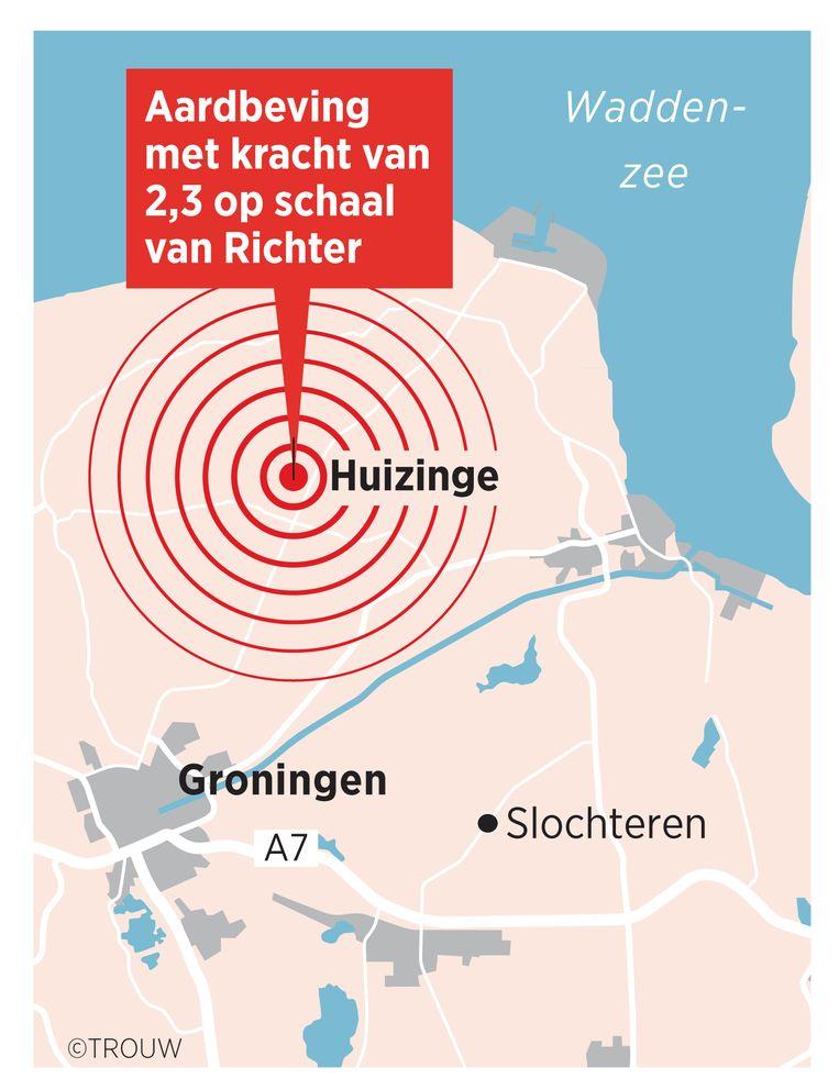 Locatie van de aardbeving van woensdagavond. Beeld Brechtje Rood, Studio Trouw