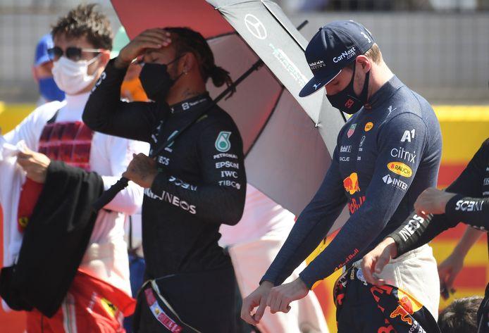 Hamilton en Verstappen, voor de race en dus voor de crash van zondag.