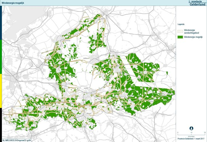 Een windkaart laat zien waar windenergie het beste gewonnen kan worden.