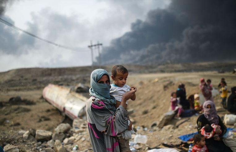 Iraakse families in Qayarah, Irak. Beeld AFP