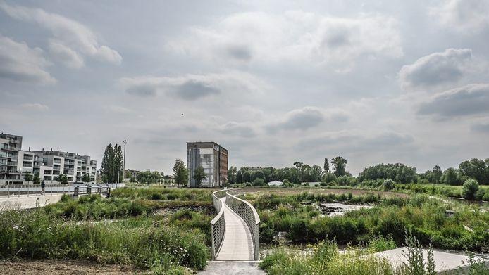 De brug zal naar een bloemenweide leiden.