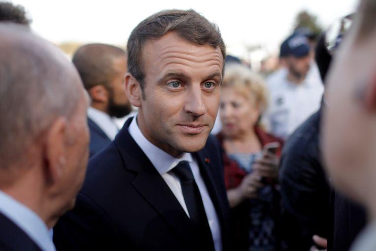 Frans president Emmanuel Macron op een bijeenkomst in Lyon. Beeld REUTERS
