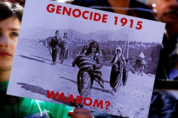 Demonstratie tegen het beleid van de Turkse regering, die de Armeense genocide nog altijd ontkent.