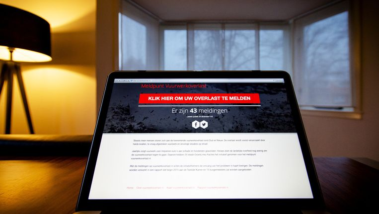 De homepage van het landelijk Meldpunt Vuurwerkoverlast. Beeld anp