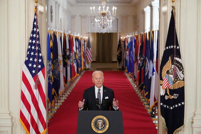 President Joe Biden in de East Room van het Witte Huis, maart dit jaar. Beeld AFP