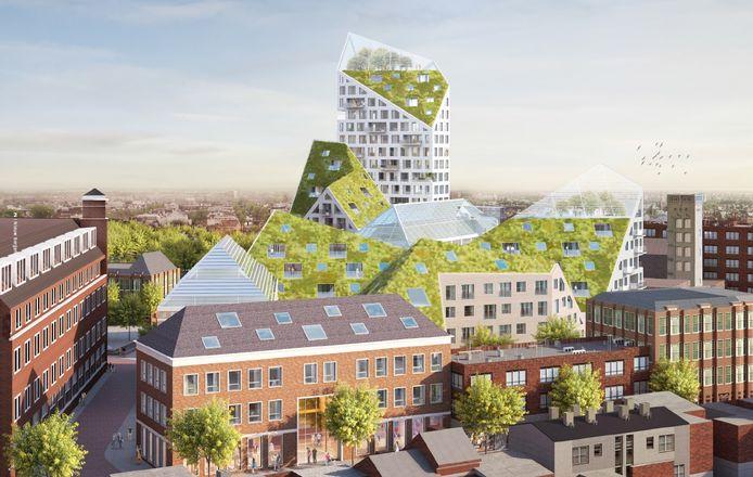 Plan Nieuw Bergen rond de Deken Van Somerenstraat in Eindhoven van SDK Vastgoed e.a. gezien vanaf de kant van de Grote Berg met de schuine daken en de 62 meter hoge toren aan de Edenstraat. Illustratie SDK Vastgoed BV