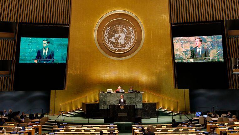 Mark Rutte tijdens de Algemene Vergadering van de Verenigde Naties in 2018. Beeld anp