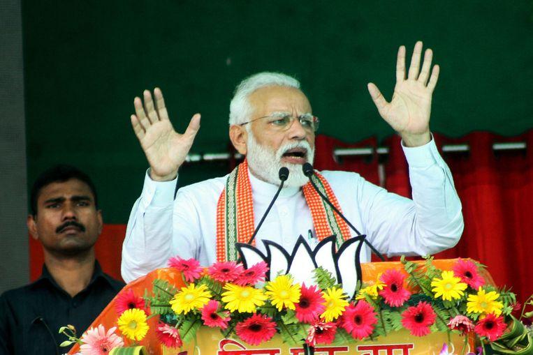De Indiase premier Narendra Modi op een verkiezingsrally in Bhagalpur, in the Indiase staat Bihar. Beeld AFP