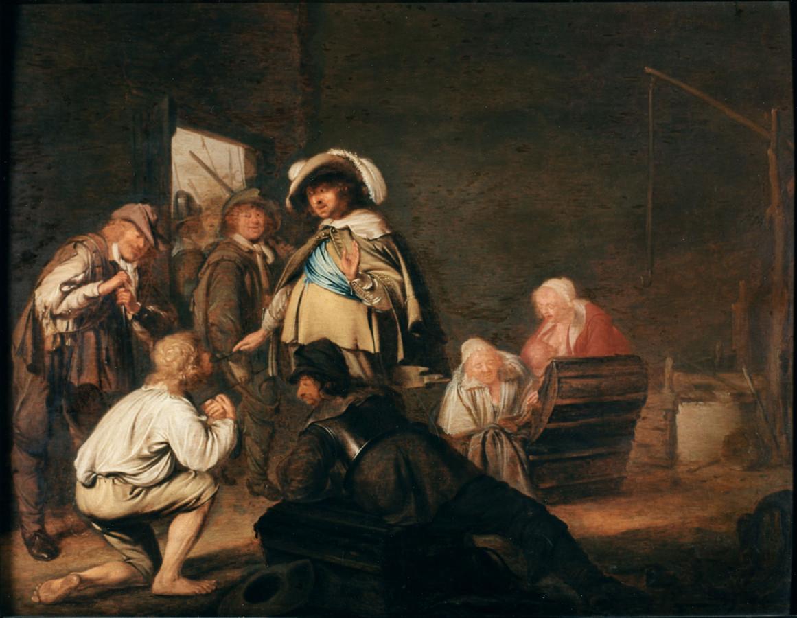 Francois Ryckhals Plundering van een boereninterieur, Particuliere verzameling Zweden