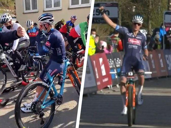 Mathieu van der Poel warmde niet op, maar won wel.