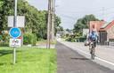 De slemwerken zijn niet goed uitgevoerd, in de Zwevegemstraat in Otegem. Deze wielertoerist rijdt dan maar naast het fietspad