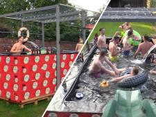 Vriendengroep uit Westerhoven bouwt groot zwembad van bierkratten: 'Het was wel even sparen'