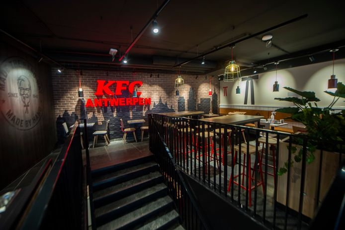 De nieuwe KFC-vestiging in de Jan Blomstraat 4 in het hartje van Antwerpen.