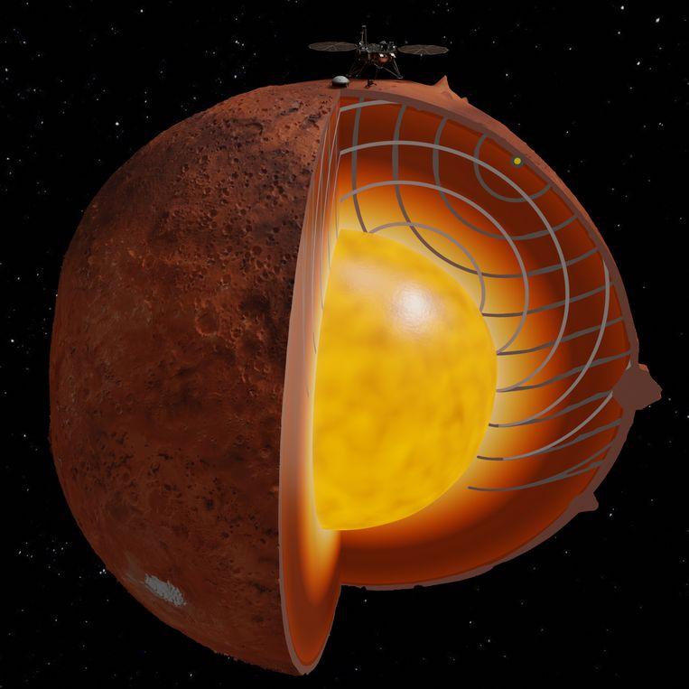 De illustratie laat zien hoe InSight met zijn seismometer bevingen registreert die door de mantel van Mars kaatsen. Beeld Sanne Cottaar, Paula Koelemeijer