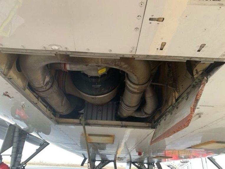 Foto van het vliegtuig dat op 16 januari een deel van de romp boven Nederland kwijtraakte. Beeld Onderzoeksraad voor veiligheid