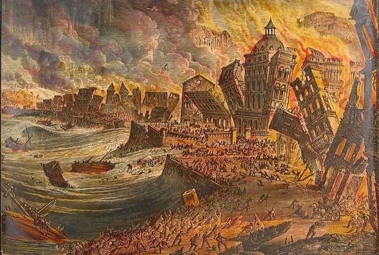 Ook de aardbeving in Lissabon in 1755 wierp de vraag naar een verklaring op: waarom, waarom nu, en waarom Lissabon? Beeld SCIENCE PHOTO LIBRARY