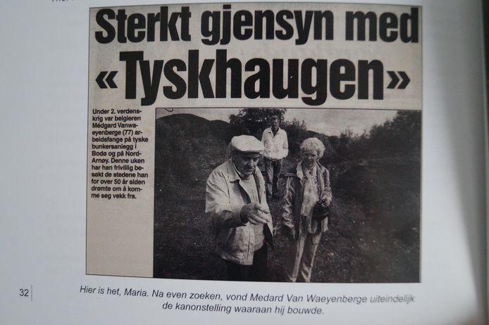 Het artikel dat in augustus 1996 verscheen in een Noorse krant. De titel betekent vrij vertaald 'Intens weerzien met de Duitse heuvel'