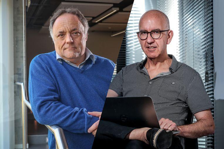 Viroloog Marc Van Ranst en biostatisticus Geert Molenberghs. Beeld Pieter-Jan Vanstockstraeten / Photonews