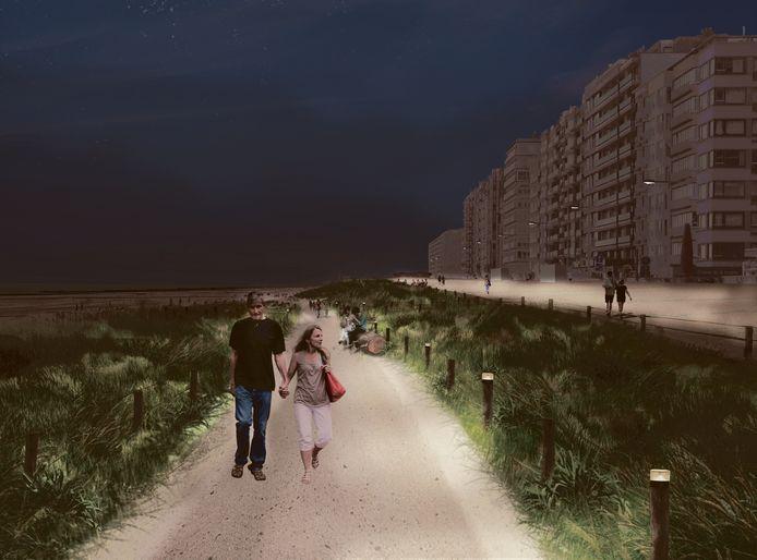 Naast de bestaande dijk wordt een lager gelegen wandelpad aangelegd.