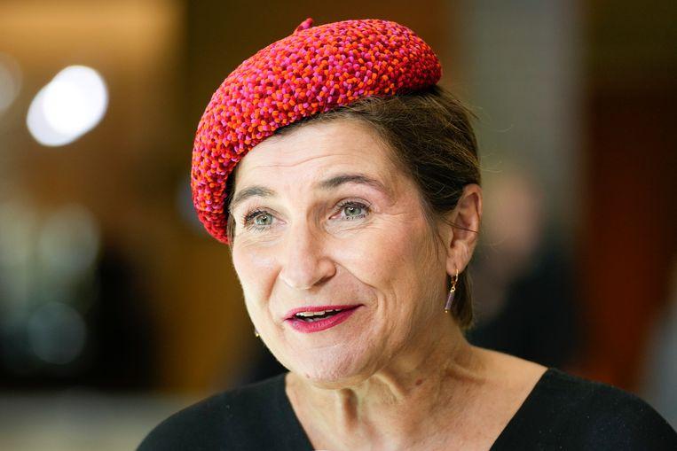PVDA-Kamerlid Lilianne Ploumen draagt een opvallende gekleurde creatie. Beeld Hollandse Hoogte /  ANP