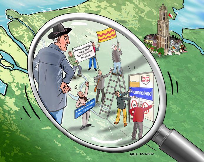 Cartoon over protesten in voormalig Zederik, met links een getekende versie van Sjaak Versluis.