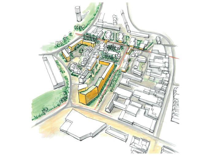 Een schets van De Waart zoals het moet worden. De gele woningen zijn nieuw.