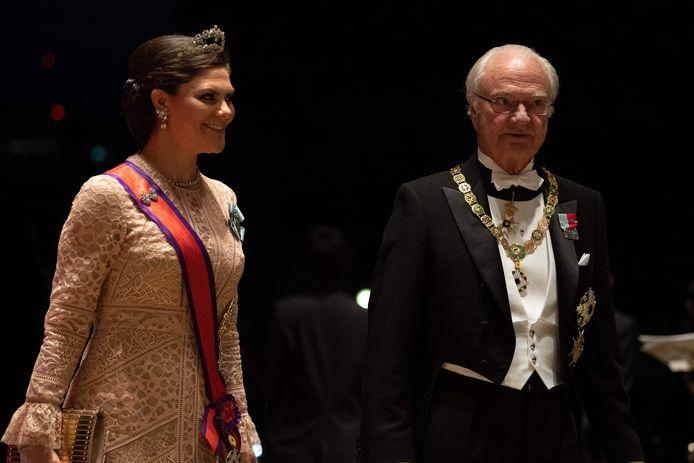 Kroonprinses Victoria van Zweden en haar vader Carl XVI Gustaf.
