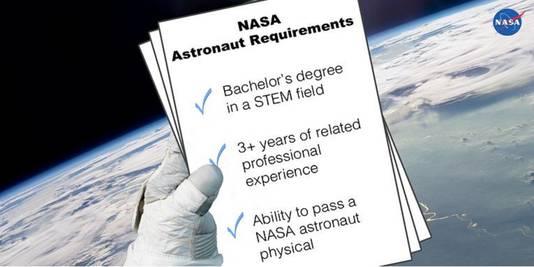 Wie NASA-astronaut wil worden, hoeft maar aan drie eisen te voldoen