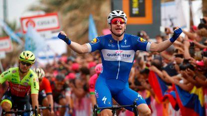 Viviani schiet raak in eerste sprintersetappe Giro, Dennis nieuwe leider