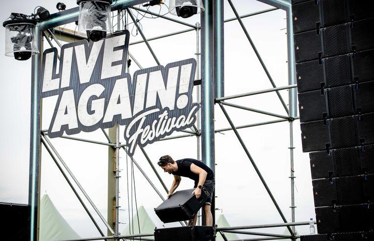 Ook de opbouw van 7th Sunday: Live Again! moest worden afgebroken. Beeld ANP