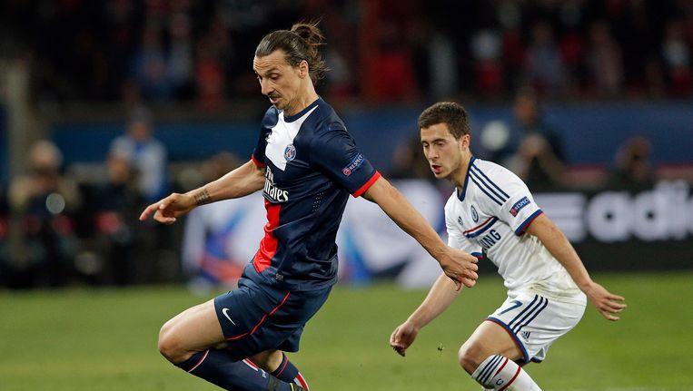 Zlatan en Hazard, eerder dit jaar in de Champions League.