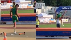 Jonge hoogspringer met één been laat wereldwijd alle harten smelten