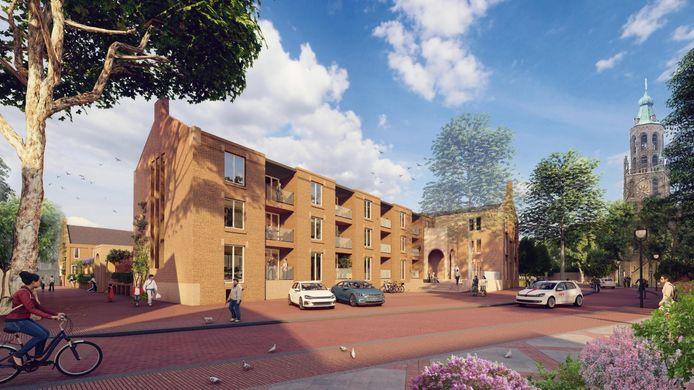 Impressie vanaf de zijde Langekerkstraat. De nieuwbouw komt vanwege de gemeenschappelijke binnentuin erachter wat dichter aan de straat te staan dan het huidige, oude schoolcomplex.
