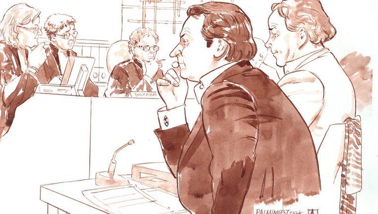 Officier van justitie Van Dis, officie van justitie Drogt, voorzitter Marcus en oprichters Danny K. en Remco V. (VLNR) van vastgoedfonds Palm Invest maandag tijdens de rechtszaak in Amsterdam. Foto ANP Beeld