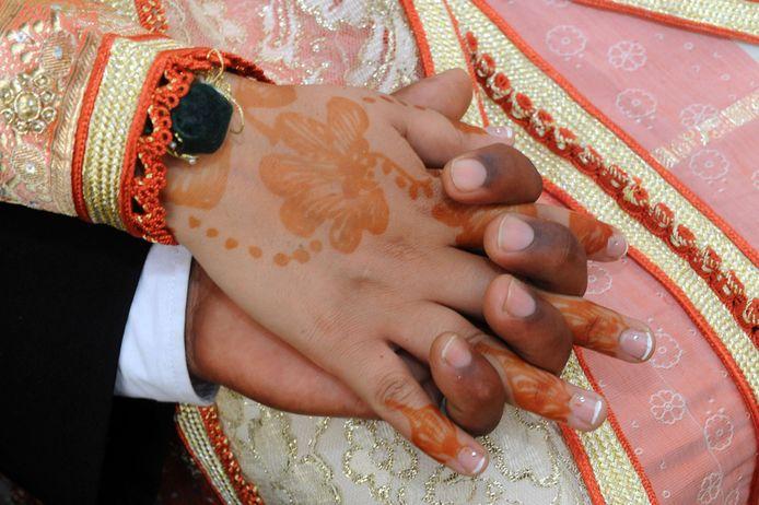 Beeld van een Marokkaans huwelijk ter illustratie.