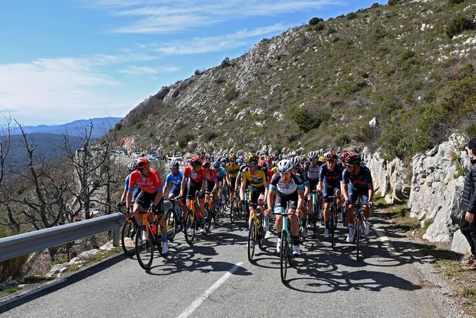 BIOT, FRANCE - MARCH 12 : Illustration picture of peloton during stage 6 of the 79th edition of the 2021 Paris - Nice cycling race, a stage of 202,5 kms between Brignoles and Biot on March 12, 2021 in Biot, France, 12/03/2021 ( Motordriver Kenny Verfaillie - Photo by Vincent Kalut / Photonews