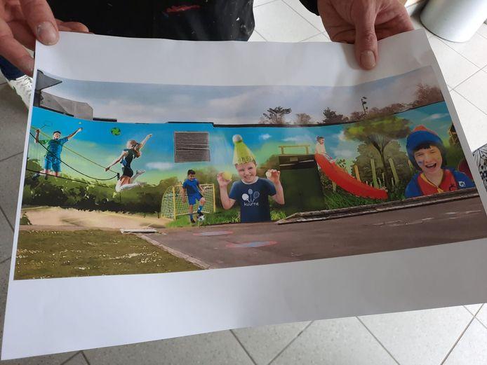 Een stukje van het ontwerp dat op de muur komt. Het meisje rechts, daar kan je knipogen in herkennen naar de verschillende jeugdbewegingen in Kuurne.