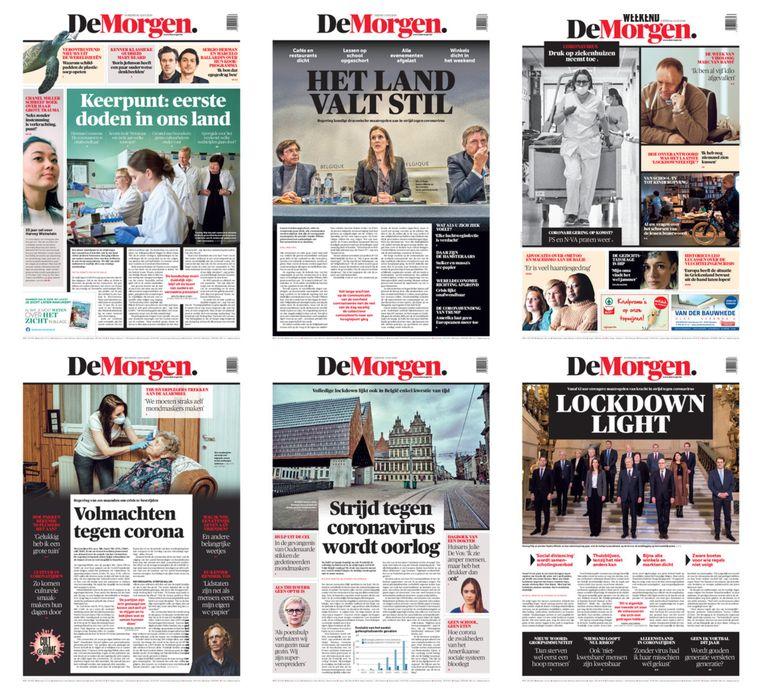 De week voor de lockdown in krantencovers. Beeld dm