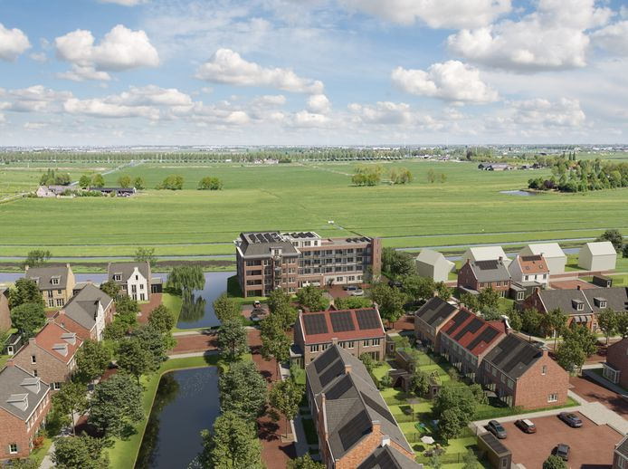 De wijk De Brinkhorst in vogelvluchtperspectief met in het midden het appartementengebouw Weidezicht, met uitzicht op groene weiden.