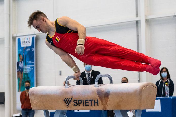 """Florian Landuyt tijdens de testen van Gymfed: """"Als alles perfect gaat, heb ik op de brug het meeste kans op een finaleplaats."""""""