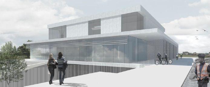 Een 3D-beeld van het nieuwe politiehuis.