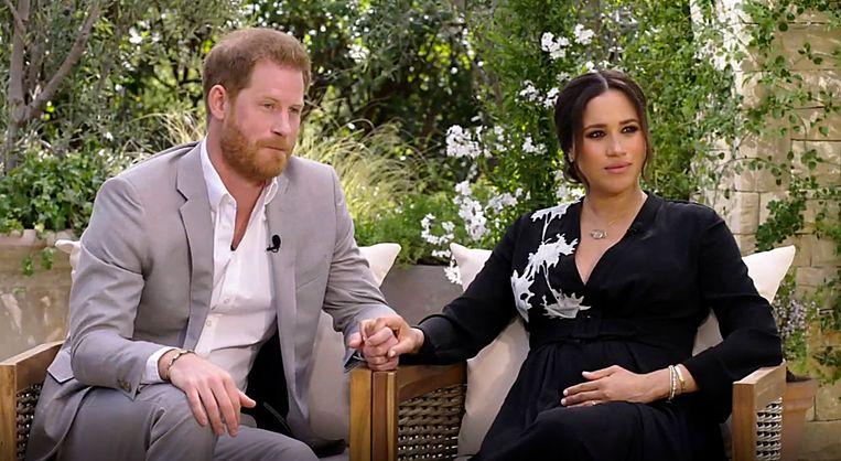 Harry en Meghan tijdens het interview met Oprah Winfrey, dat vanavond wordt uitgezonden op de VRT. Beeld Photo News