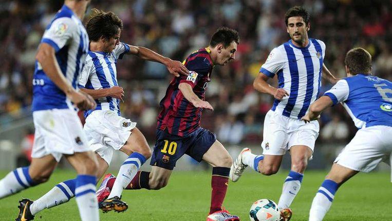Lionel Messi was vanavond weer eens niet af te stoppen. Beeld null