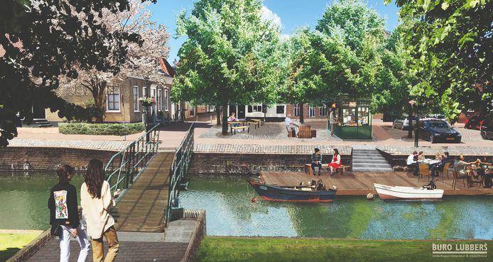 De gemeente Brielle wil de binnenstad en haven verfraaien. In het plan is een brug tussen Scharloo en Turfkade opgenomen. Artist impression: Buro Lubbers
