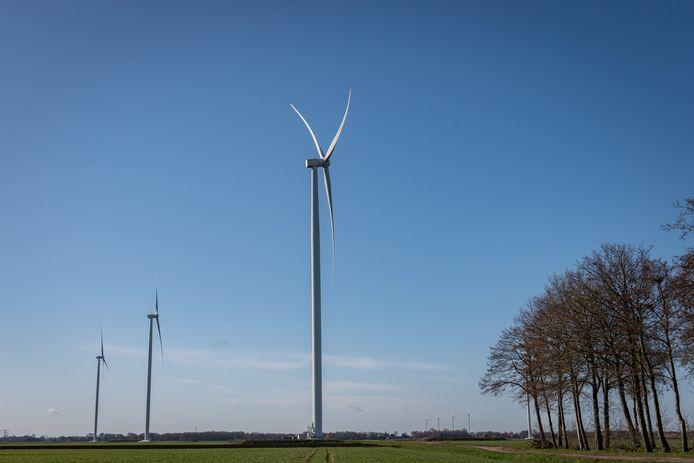 Een windmolenpark elders in Nederland.