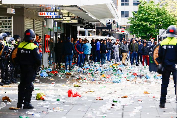 In de binnenstad van Rotterdam was het onrustig na de wedstrijd.