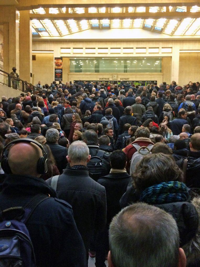 De ontzettend lange wachtrijen in het Centraal Station van Brussel eerder deze week. Beeld BELGA