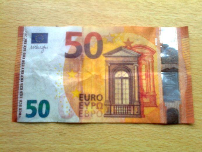 Een van de (valse) biljetten waarmee door tieners werd betaald in Eindhoven.