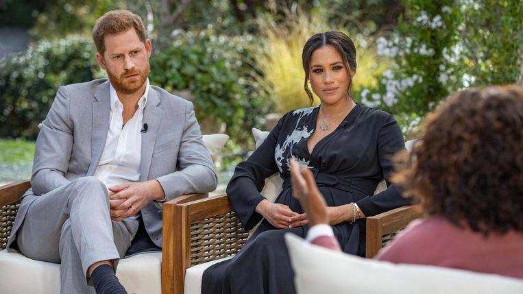 Harry en Meghan in gesprek met Oprah Winfrey.  Beeld Talpa